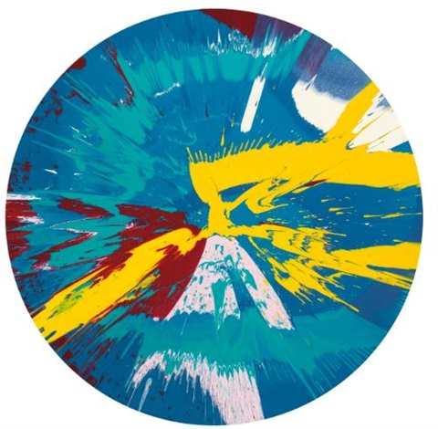 beautiful runny egg on a summers day nose bleed painting by damien hirst