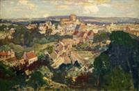 french town scene by leonard richmond