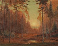 autumn sunset by gustave adolph wiegand