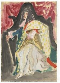 bozzetto di costume teatrale; il re sole lugi xiv (recto e verso) by gianni vagnetti