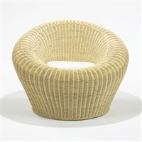 rattan round chair, model t-3010 by isamu kenmochi