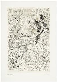 akt sitzend (sich beugende) (+ wasserlache am strand, 1979, lrgr (2 works) by otto niemeyer-holstein