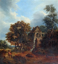 rural scene with figures near a mill by john ambrose