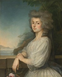 portrait of a woman on a terrace, a landscape beyond by antoine vestier