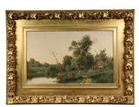 bucolic landscape with cottage, pond, woman at well by gustave adolph wiegand