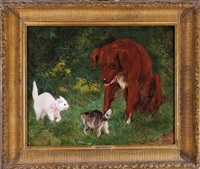 the challenge: two cats and a dog by james carroll beckwith