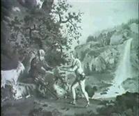 schweizer gebirgslandschaft mit wasserfall, vorn links   reicht ein hirtenjunge einem beinamputiertem soldaten...... by gottfried locher