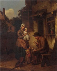 a family outside an inn by jacob akkersdijk
