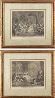 marriage a la mode (6 works) by william hogarth