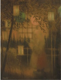 girl with a chinese lantern by henri van daalhoff