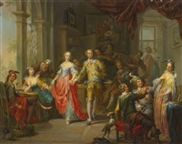 an elegant company, with figures playing musical instruments and merrymaking in an interior by franz christoph janneck