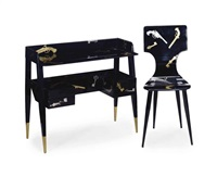writing desk and chair (2 works) by gio ponti and piero fornasetti