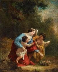 die jungfrau mit dem kind, begleitet von einem engel, früchte reichend by simon vouet