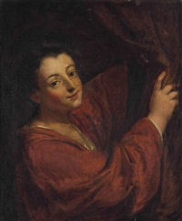 portrait of a woman, half-length, in a red dress, holding back a curtain by jean-baptiste santerre