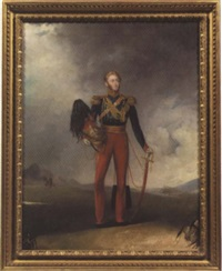 portrait of an officer of the 12th (prince of wales) royal lancers by charles ambrose