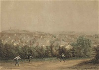 boys playing on a lane above st. helier with fort regent and elizabeth castle beyond by louis evrard conrad de kock