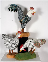 rooster with two hens by david alvarez