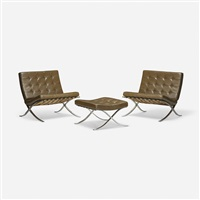 pair of barcelona chairs and ottoman (set of 3) by ludwig mies van der rohe