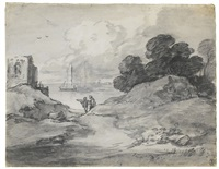 coastal scene with figures, shipping and ruined castle by thomas gainsborough