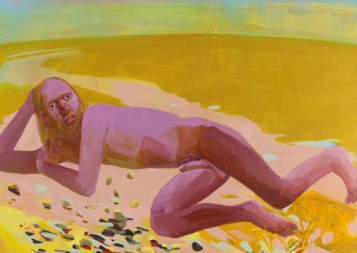 reclining nude by dana schutz