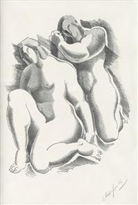 female nudes (from dritte jahresgabe des kreises graphischer künstler und sammler) by alexander archipenko