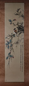 chinese ink & color scroll painting by zhang daqian