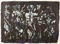 nocturno (+ bäume der maya, rote bäume, komposition mit rot und orange; 4 works) by rudolf (rudi) baerwind