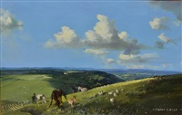 landscape with horses and foal by vernon ward