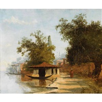 personnage au bord du nil et à l'ombre de grands arbres, avec kiosque et felouque, minaret en arrière plan by charles théodore (frère bey) frère
