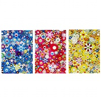 an homage to ikb , c , 2012/an homage to monopink , 1960 c , 2012/an homage to monogold , 1960 c , 2012 (3 works) by takashi murakami
