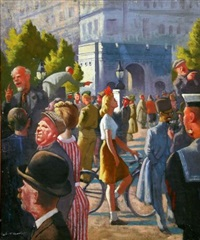 a crowd before an archway by robert bartlett