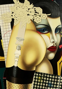 woman with a painted face by shimon okshteyn