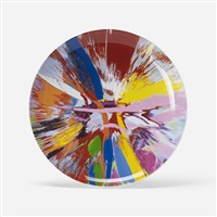 beautiful, amore, gasp, eyes going into top of head and fluttering painting plate by damien hirst