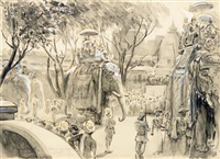 state entry of lord curzon into delhi, 29th december 1902 by george percy r. e. jacomb-hood