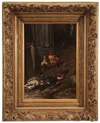 chickens and ducks feeding at a trough by philibert-leon couturier