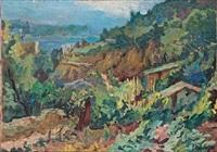 paisaje con montaña, caserio y mar by emili bosch roger