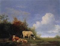 landschaft mit windmühle, schafen und kühen by johannes jacobus (jan) heppener