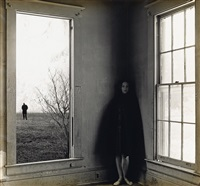 untitled (woman in a house with departing male figure in background) by jerry uelsmann