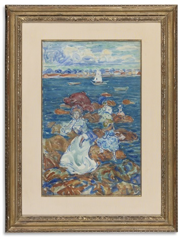 low tide figures and rocks by maurice brazil prendergast