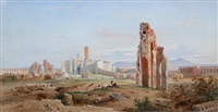 vue de l'eglise santa croce gerusalemme avec l'aqueduc claudien a rome by jean achille bénouville