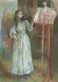 julie manet jouant au violon en robe blanche by berthe morisot
