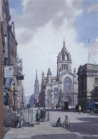 edinburgh from calton hill (+ st. giles's cathedral, edinburgh; pair) by leonard russel squirrell