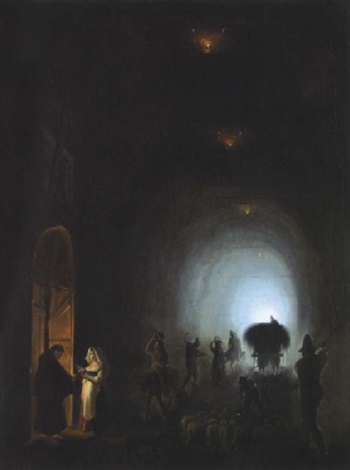 bauern und hirten in einer grotte und vor einer klosterpforte grotta apozzoli by vincenzo abbati