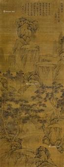 秋岩听瀑图 立轴 设色纸本 by wen zhengming