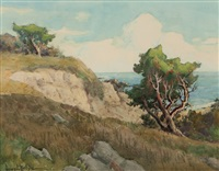 coastal landscape with cypress by henry leopold richter