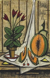 pot de cyclamens et melon by bernard buffet