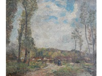 montreuil sur mer rural scene with figures on path by frederick william jackson