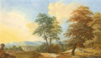 landscape view in the campagna near rome (+ 2 others; 3 works) by friedrich rauscher