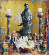 still life with asian artifacts, candlesticks, and flowers by anna s. fisher