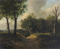 a traveller on a woodland path by patrick nasmyth